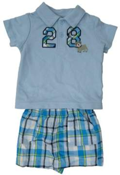 Carter's Just One You Infant Boys Blue 28 Dog Polo Shirt & Blue Plaid Shorts 6m