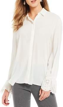 Isaac Mizrahi Imnyc IMNYC Embroidered Sleeve Button Up Shirt