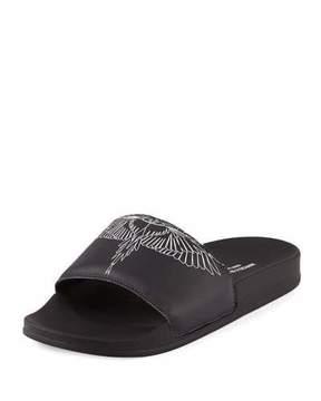 Marcelo Burlon County of Milan Anny Leather Pool Slide Sandal, Black