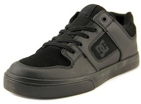 DC Pure Elastic Youth Round Toe Leather Black Skate Shoe.