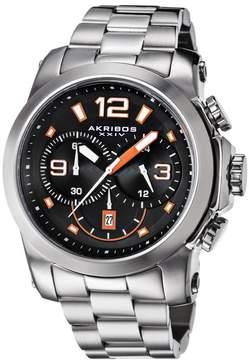 Akribos XXIV Akribos Black and Orange Dial Chronograph Stainless Steel Men's Watch