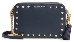 MICHAEL Michael Kors Medium Ginny Star Studded Leather Crossbody Camera Bag - Blue