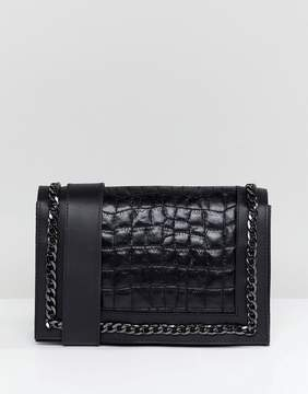 Asos DESIGN Leather Quilted Croc Chain Cross Body