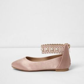 River Island Girls pink satin faux pearl ballerina shoes