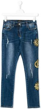 John Richmond Kids patch detailed jeans