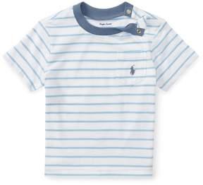 Ralph Lauren | Striped Cotton Jersey T-Shirt | 6-12 months | White/blueebell