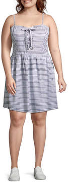 Arizona Sleeveless Stripe A-Line Dress-Juniors Plus