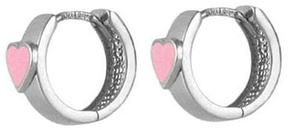 Ice Silver Pink Enamel Heart Girl Huggie Hoop Earrings for Children