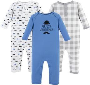Hudson Baby Gray & Blue 'Perfect Gentleman' Playsuit Set - Newborn & Infant