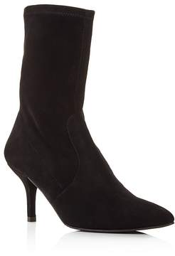 Stuart Weitzman Cling Suede Stretch Sock Booties