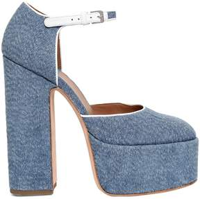 Laurence Dacade 150mm Lilas Lurex Denim Platform Pumps