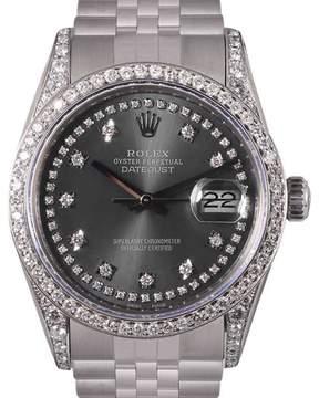 Rolex Datejust Stainless Steel Gray String Diamond Dial, Lugs & Bezel 36mm Mens Watch