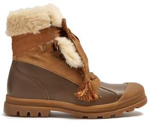 Chloé Parker shearling-trimmed leather boots