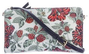 Tory Burch Floral Coated Canvas Crossbody Bag - BLUE - STYLE