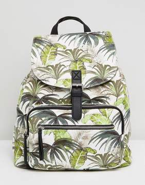New Look Palm Print Canvas Backpack