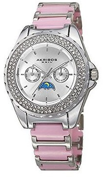 Akribos XXIV Silver Dial Ladies Two Tone Multifunction Watch