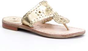 Jack Rogers Miss Hamptons Girls Metallic Leather Whipstitched Sandals