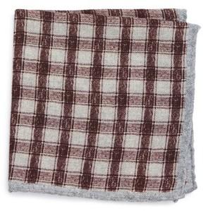 Eleventy Men's Check Wool Pocket Square