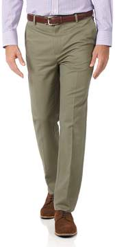 Charles Tyrwhitt Olive Slim Fit Flat Front Non-Iron Cotton Chino Pants Size W32 L30