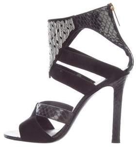 Tamara Mellon Snakeskin Embellished Sandals
