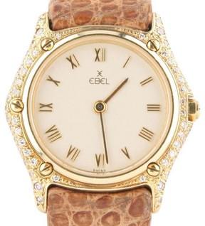 Ebel 18K Yellow Gold Quartz 1657 Diamond Leather Band 26mm Watch