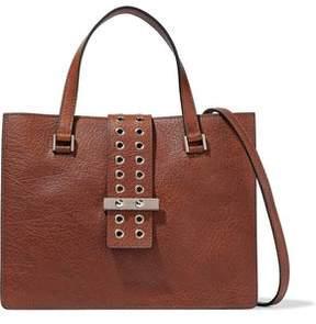 RED Valentino Eyelet-Embellished Textured-Leather Shoulder Bag