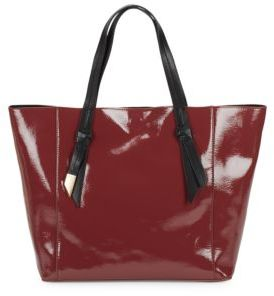 Ashlyn Patent Leather & Suede Reversible Tote