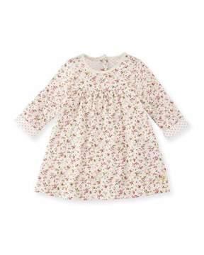 Petit Bateau Long-Sleeve Floral-Print Cotton Dress, Size 3-36 Months