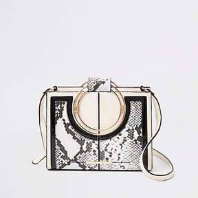 River Island Beige snake print metal hoop cross body bag