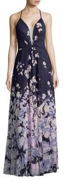 Betsy & Adam Printed Chiffon Long Dress