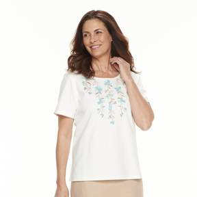 Alfred Dunner Women's Studio Embroidered Floral Top