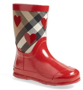 Burberry Toddler Girl's 'Ranmoor' Heart Print Rain Boot