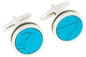 Bey-Berk Bey Berk Turquoise Round Cufflinks