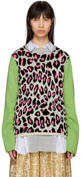 Comme des Garcons White Leopard Knit Sweater