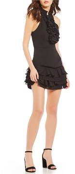 C/Meo Big Picture Ruffle Fit and Flare Mini Dress