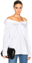 Tibi Notched Off Shoulder Shirt in White.