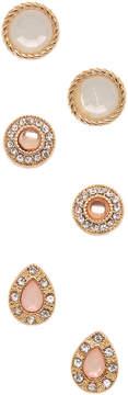 Carole Three-Pair Pink & Goldtone Stud Earrings Set