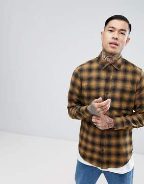 Pull&Bear Regular Fit Shirt In Mustard Check