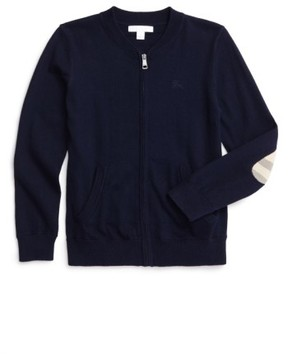 Burberry Boy's 'Jaxson' Front Zip Cotton Cardigan