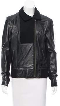 White + Warren Knit-Trimmed Leather Jacket