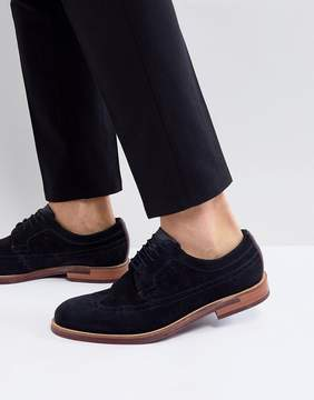 Ted Baker Delanis Suede Brogue Shoes In Navy