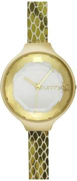 RumbaTime Orchard Exotic Goldtone White Dial Green Snake-Embossed Leather Strap Watch