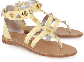 Miss Blumarine Pale Yellow Gladiator Sandals