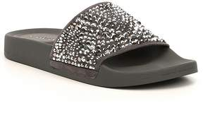 Gianni Bini Gemella Jeweled Hotfix Suede Slide Sandals