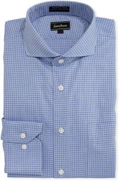 Neiman Marcus Non-Iron Dobby Grid Dress Shirt, Blue
