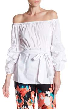 ECI Off-the-Shoulder Long Sleeve Blouse
