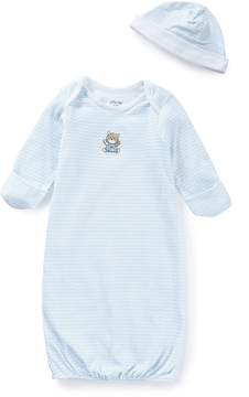 Little Me Baby Boys Newborn-3 Months Chevron Bear Gown & Hat Set