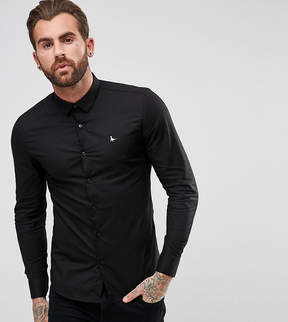 Jack Wills Hinton Skinny Poplin Stretch Fit Shirt in Black
