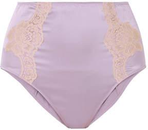 Fleur Du Mal Lace-trimmed Silk-satin Briefs - Lilac
