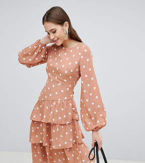 Fashion Union Tall Open Back Midi Dress With Tiered Skirt In Vintage Spot